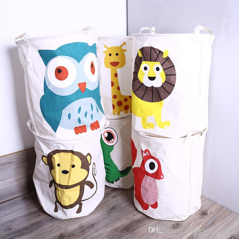 New Folding Dirty Clothes Storage Basket Laundry Basket Cotton Linen Sundries Storage Bucket Children Toys Storage Box