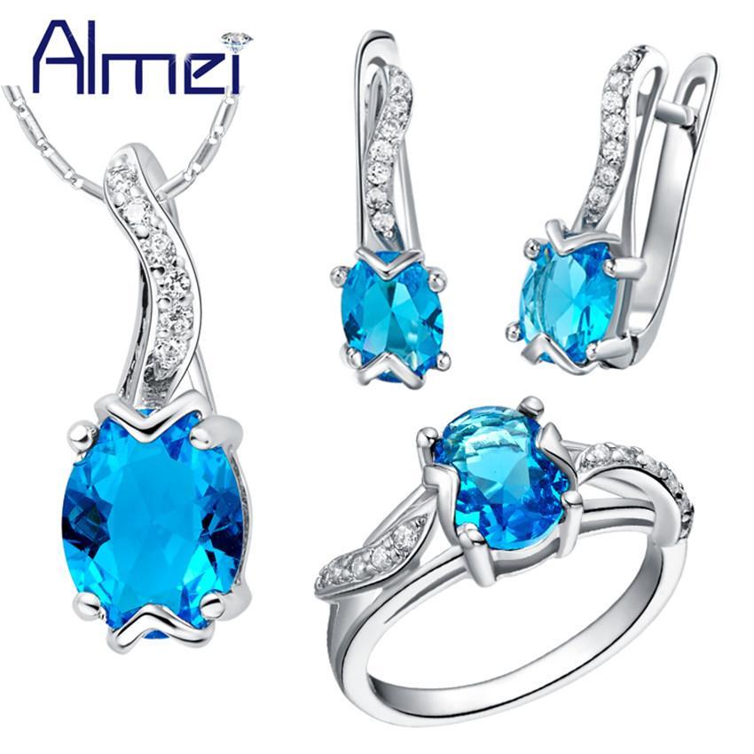 b5ec19617930 Compre Toda La VentaAlmei 50% Off Costume Jewelry Set Plata Azul Cubic  Zirconia Accesorios De Boda Collar Y Anillos De Pendientes Mujeres  Bisuteria T232 A ...
