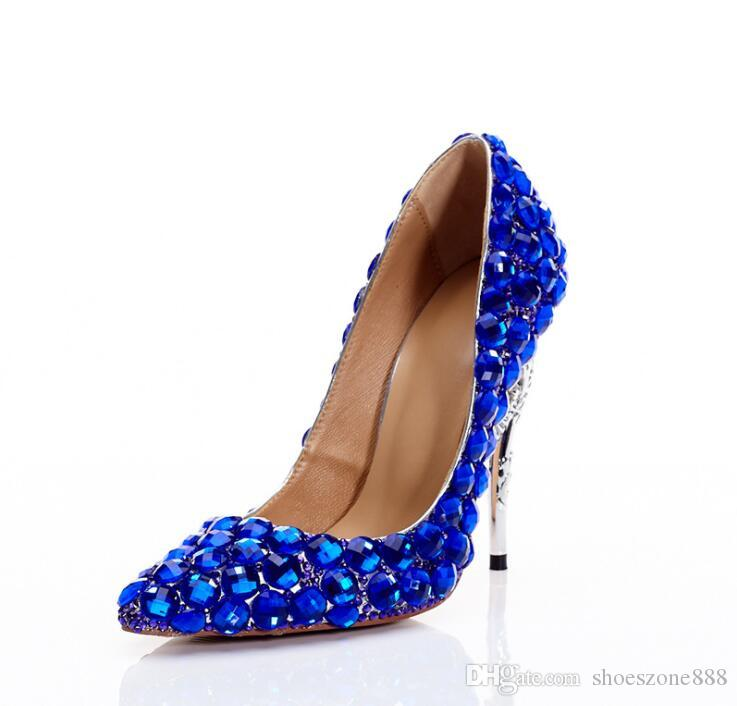 New Promotion Sexy Blue Women High Heels Wedding Shoes Ladies Crystal  Rhinestones Bridal Shoes Thin Heel Party High Heels Pointed Toe Zv378  Rhinestones ... 3d99eb77c0e7