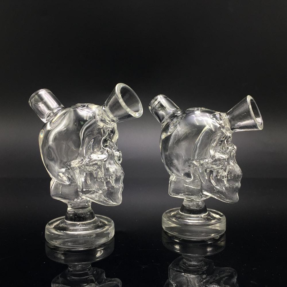 2018 Nouveau Design Crâne Voyage Mini Bongs 2.7 Pouce En Verre Blunt Bubbler Joint Fumer Bulle Petite Pipe À Eau Petits Tuyaux Tuyau À Main