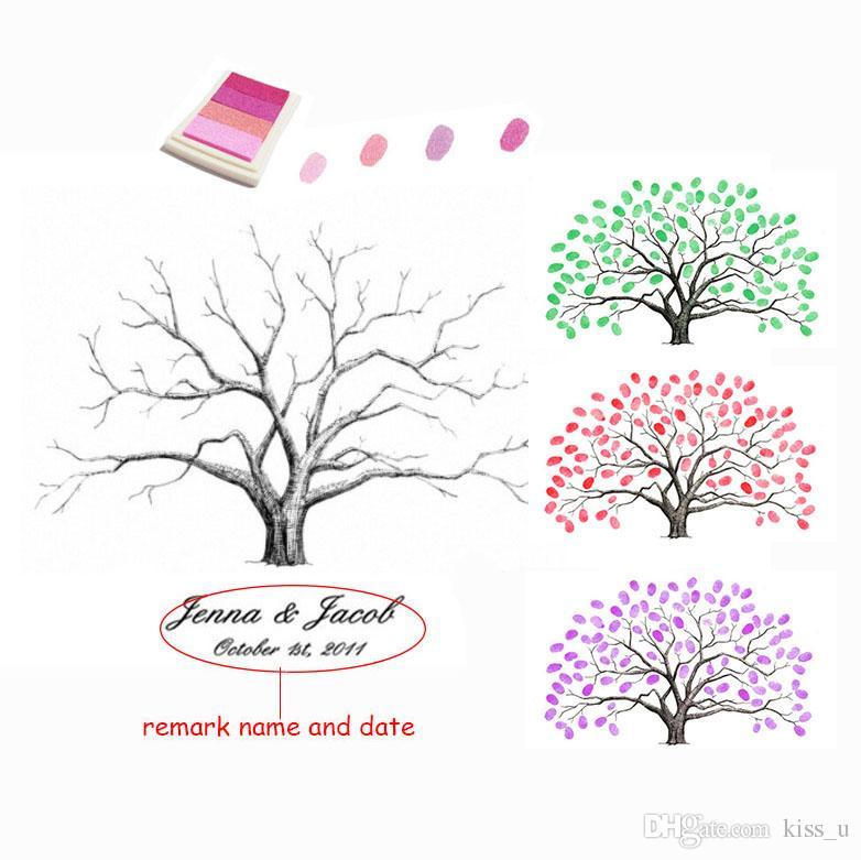 Hochzeit Baum Kostenlose Benutzerdefinierte Name Datum Leinwand Drucken Fingerabdrucke Gastebuch Personalisierte Diy Gastebuch Fur Verlobungsfeier