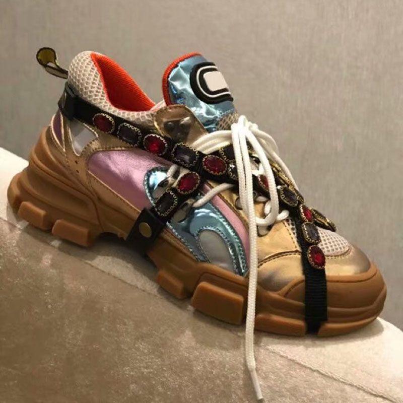 4bf8c88bff873b Acheter New Arrivee Couple Marque Designer Diamant De Luxe Chaussures De  Mode Respirant Maille En Cuir Hommes Partie Casual Chaussures Femme En  Plein Air ...