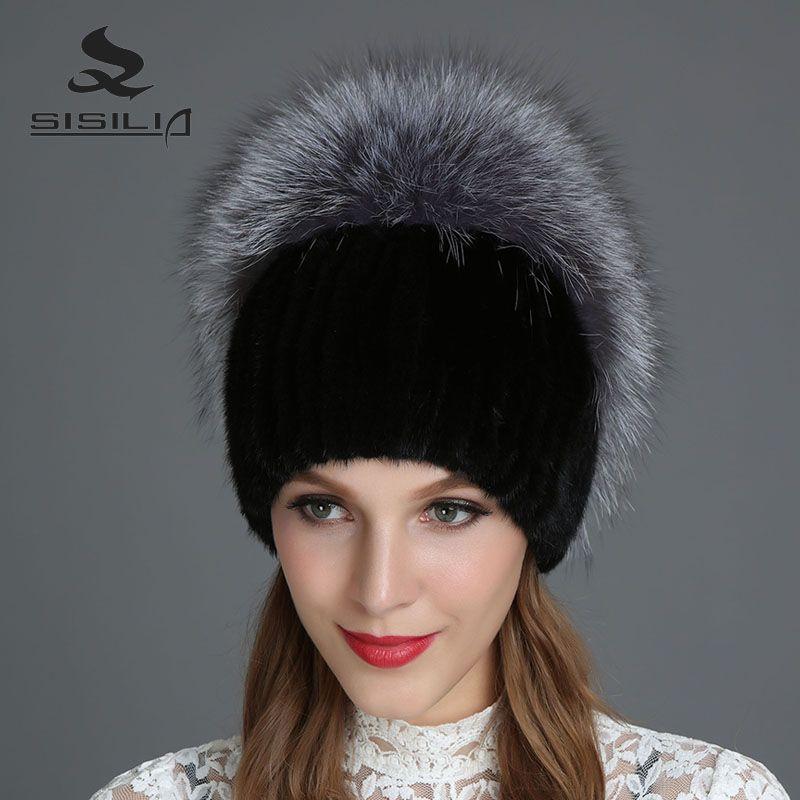 38cc2ac3caf SISILIA 2017 New Women s Hats With Raccon Fox Fur Hat Pom Poms ...