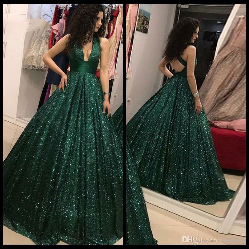 Sparkly Bling Green Sequins Prom Dresses Elegant Deep V Neck Ball Gown  Party Prom Dress Vestidos De Formatura Longo 2019 Long Sleeved Prom Dresses  Orange ... 72f7d930020f