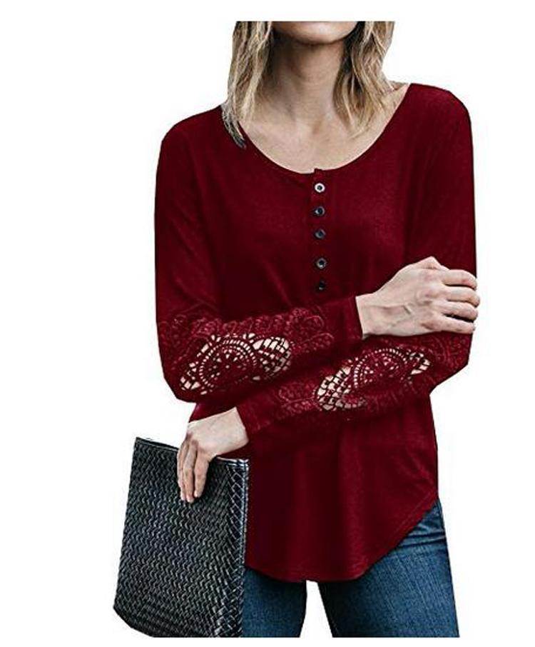 9d7c57fcc8 Compre Camisas Henley Para Mujer De Manga Larga Crochet Lace Button Up  Túnica Sin Mangas Blusa Camiseta Seleccione El Tamaño S 5XL 8745 A  12.57  Del ...