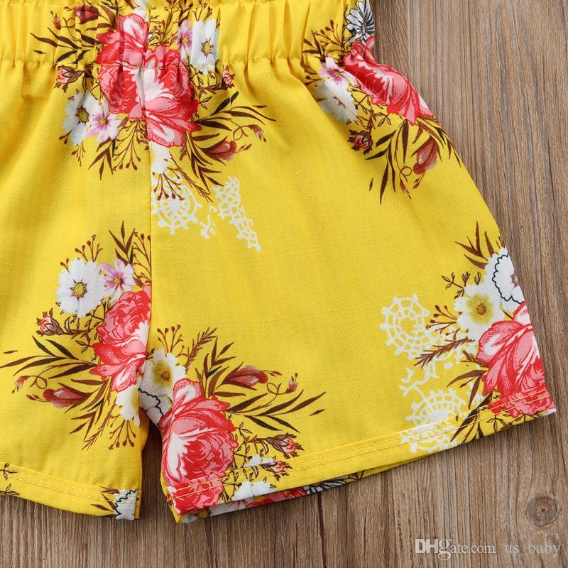 Chica Ropa de verano Niños Flores amarillas de impresión Conjunto Niños Niñas Correa Tops Pantalones cortos Trajes 1-6T
