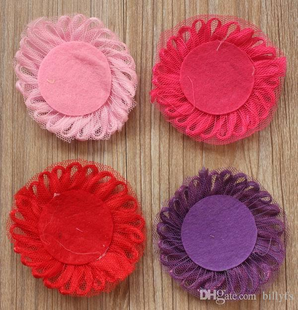 6cm tulle mesh fabric flower with felt circle backing for baby girls headband accessories,headbands hair clip flowers