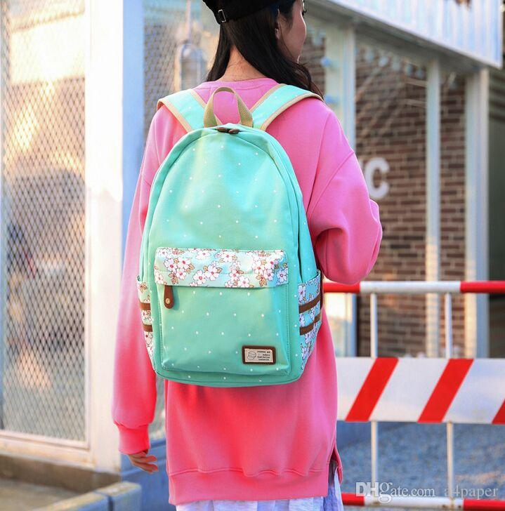 7a3f7fb3d6 Compre Mochila De Lona Para Mujer Bolsa De Estudiante Mochila De Lunar Con  Estampado De Puntos Mochila De Mujer A $26.4 Del A4paper | DHgate.Com