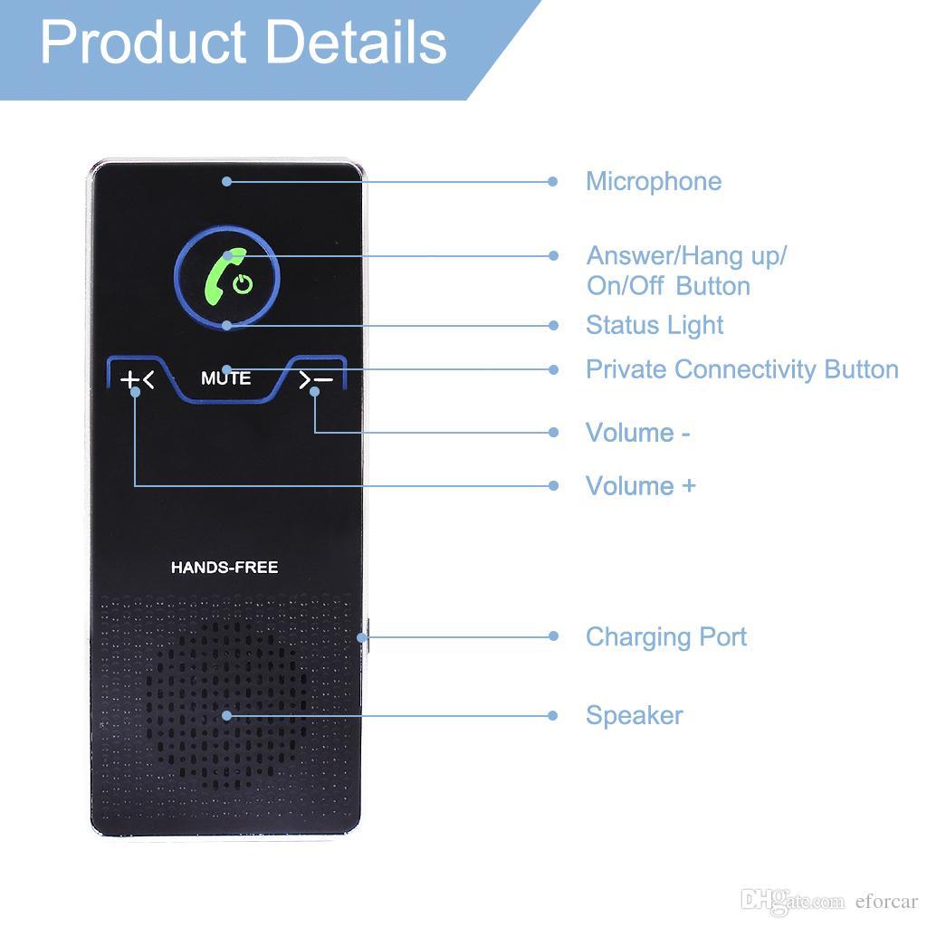 Drahtloser Auto-Sprecher übergibt freien Bluetooth Freisprecheinrichtung-Satz mit Luft-Entlüftungsöffnung und Sonnenblende-Klammer HD Stereoaudiospieler für IOS- / Android-Telefon