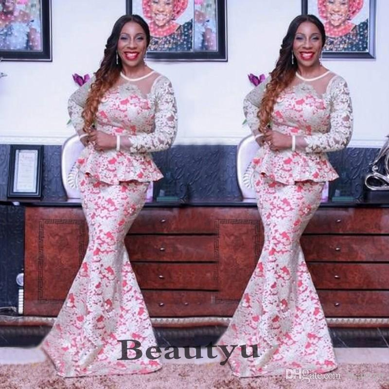 African Nigerian Lace Mermaid Prom Dresses With Long Sleeves Jewel Peplum Aso  Ebi Elegant Evening Formal Dress 2018 Vestidos De Fiesta Unique Prom Dresses  ... 40db01b9a880