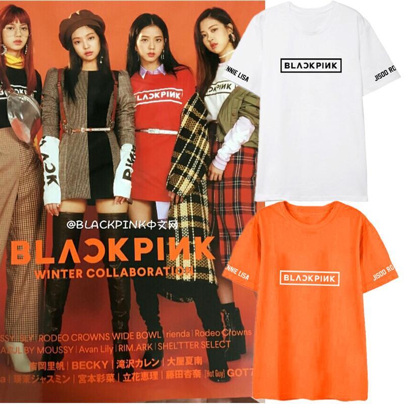 New Kpop Blackpink Lisa Jennie Same Paragraph Short Sleeve T Shirt