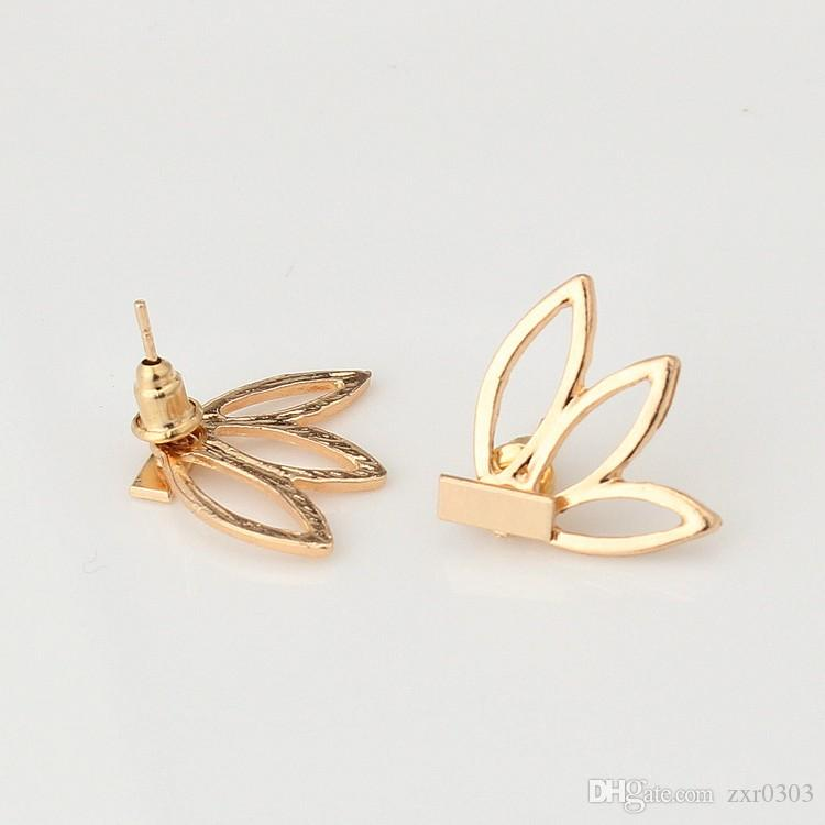 Горячая мода ювелирные изделия простой золото серебро заявление полый Лотос Шарм двойной Sieded серьги стержня букле d oreille старинные серьги