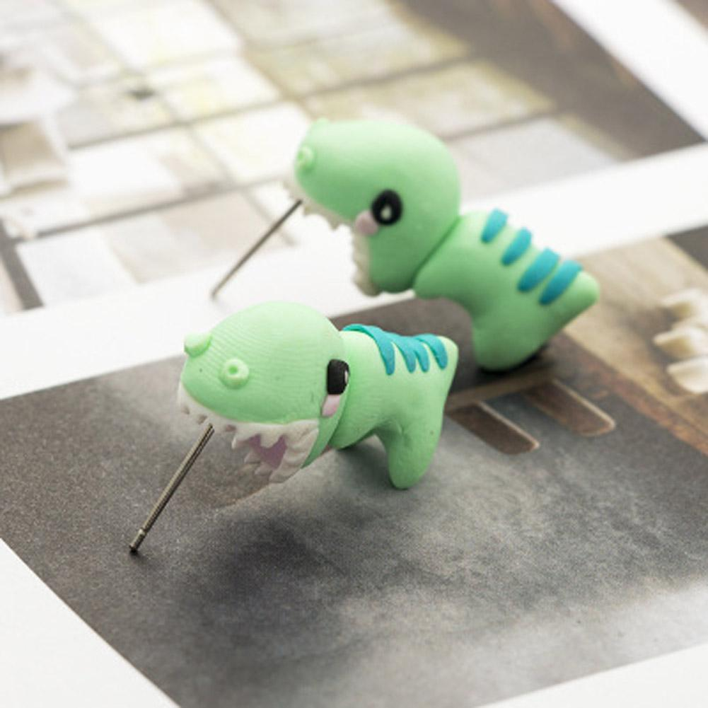 Handmade Polymer Clay Soft Cute Dinosaur Earrings For Women Fashion Animal Piercing Ear Stud Earring Jewelry