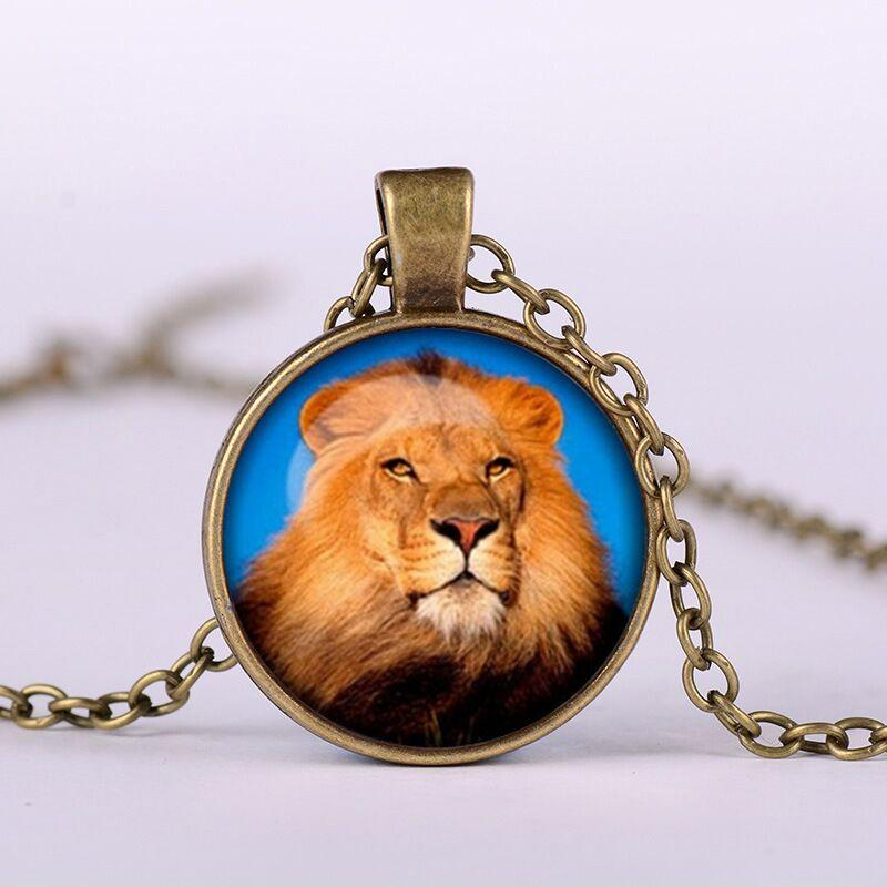 silvery unisex alloy cute children round Time Gem Cabochon Beast Lion Necklace Lion head Necklace Lion Pendant Necklace 2018 x619