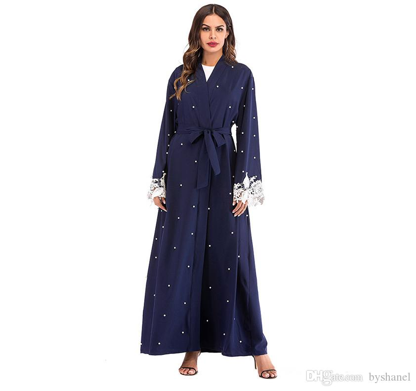 Acheter 2019 EID Femmes Musulmanes Ouvertes Abaya Islamique Longues Robes  Avec Perle Et Dentelle 39eaf067e32