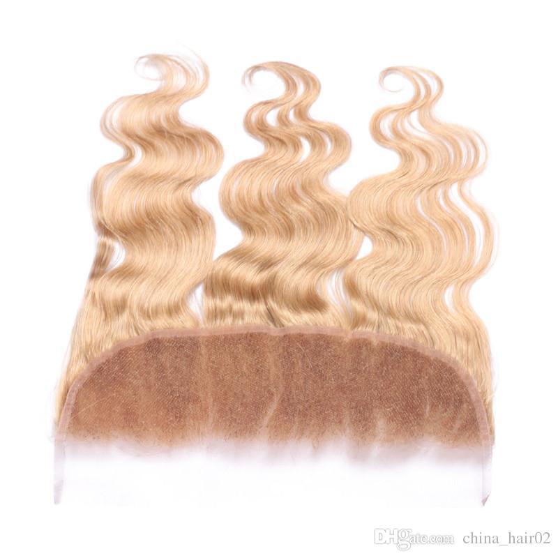 هيئة موجة # 27 العسل شقراء الأذن إلى الأذن 13x4 الرباط أمامي إغلاق العذراء البرازيلي الفراولة شقراء الشعر البشري كامل المقدمات الدانتيل