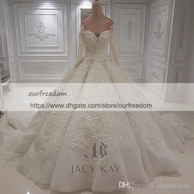 Vestido De Noiva Lace Wedding Dresses 2019 Modest Long Sleeve 3D Flora Appliques Lace Ball Gown Castle Bridal Gown Custom Made