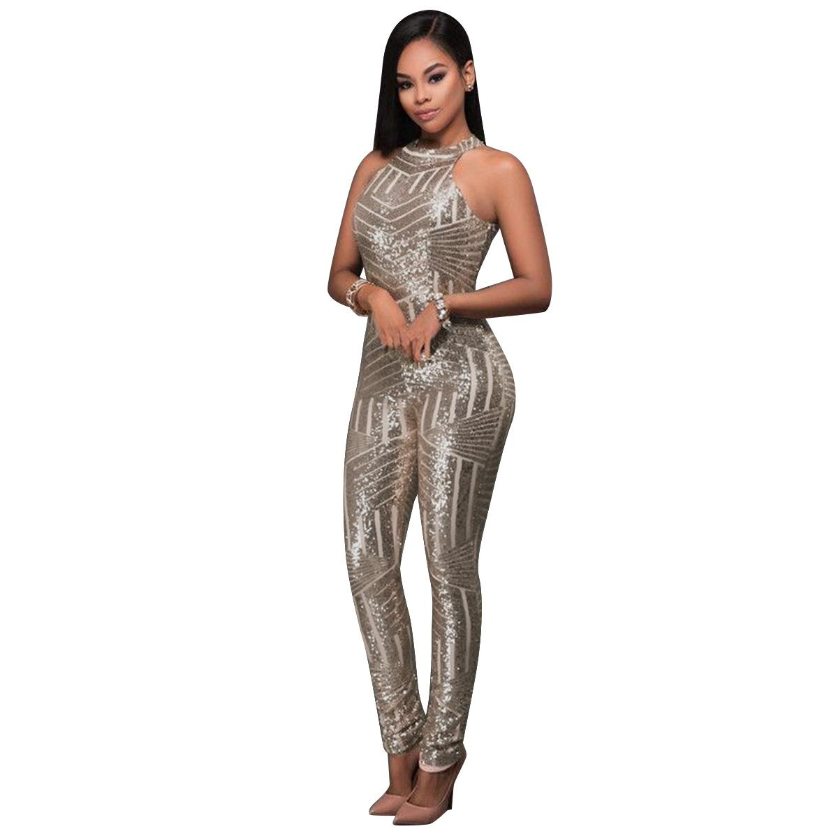 b5be06e49e0e 2019 Sequin Jumpsuits High End Custom Gold Rompers Women Sparkly Jumpsuit  One Piece Fall Womens Long Sleeve High Stretch Party Club From Priscille