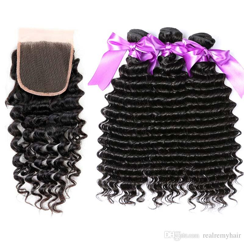 Brazilian Deep Wave Human Hair 3 Bundles with Closure Free Middle 3 Part Double Weft Virgin Human Hair Weave Extensions With Lace Closure