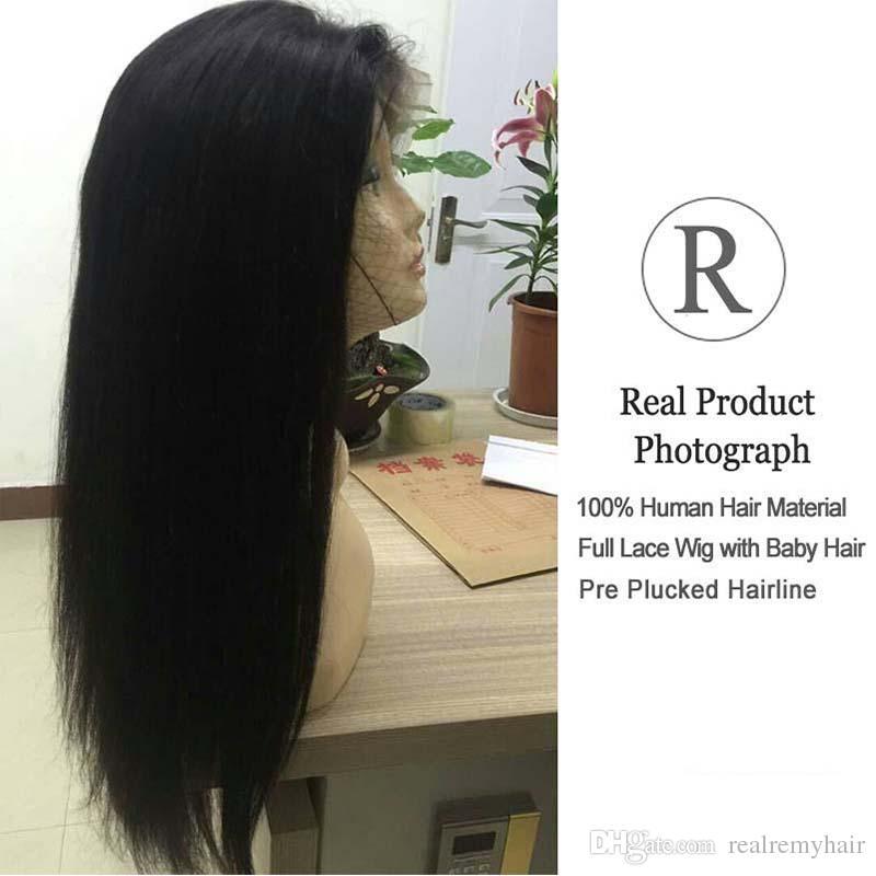 Pelucas brasileñas del frente del cordón del cabello humano recto con el pelo del bebé Pelucas naturales del frente del cordón de la rayita natural pre del pelo 150% para las mujeres negras