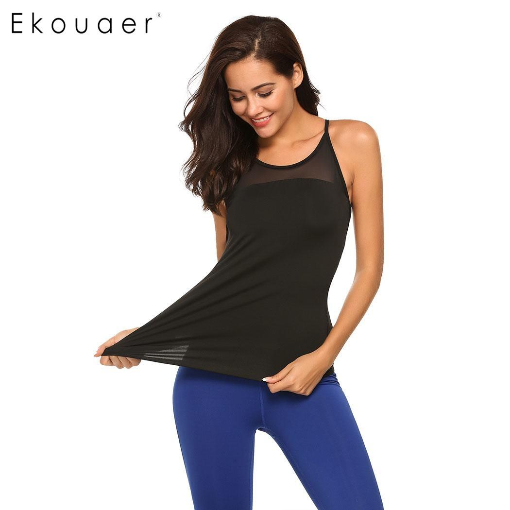 9659fac4d5 2019 Ekouaer Yoga Tops Femmes 2017 Sport Shirt Women Fitness Yoga Gym Tank  Tops T Shirt Women Quick Dry Short Running Shirt For Gym From Johiny