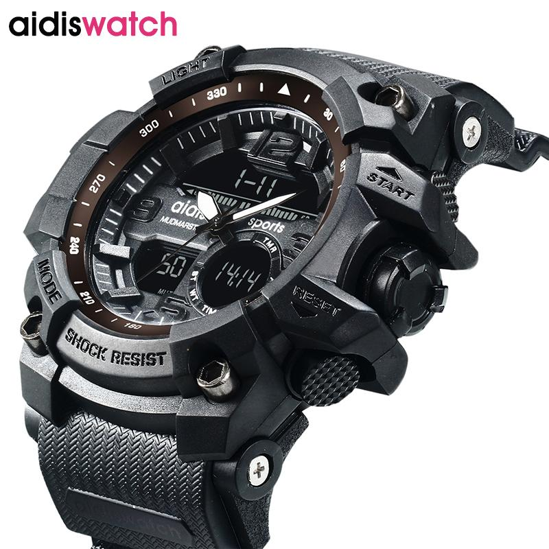 91f6b6bb3dff Compre AIDIS Marca Hombres Relojes Deportivos A Prueba De Agua Militar LED  De Cuarzo Digital Niños Electrónicos Reloj Hombres Relogio Masculino  Y1892107 A ...