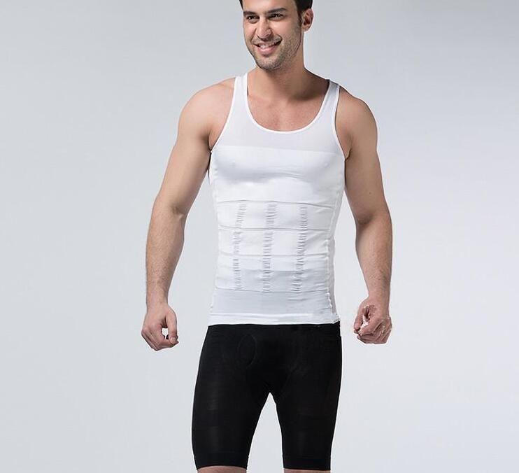 Atacado dos homens Slim Umidade Menos a Barriga De Cerveja Shaping Underwear Abdômen Escultura Do Corpo Colete Shapers T-shirt Do Corpo de Escultura do Corpo Shaper