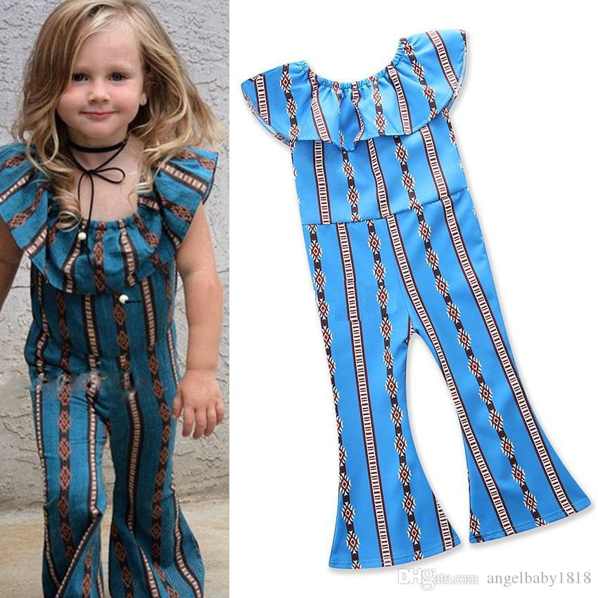 49a0fe3f0e45 2018 Baby Lotus Leaf Collar Stripes Romper Girls Jumpsuits Cotton Children  Flare Pants Kids Boutique Clothing Girls Jumpsuits Online with  8.98 Piece  on ...