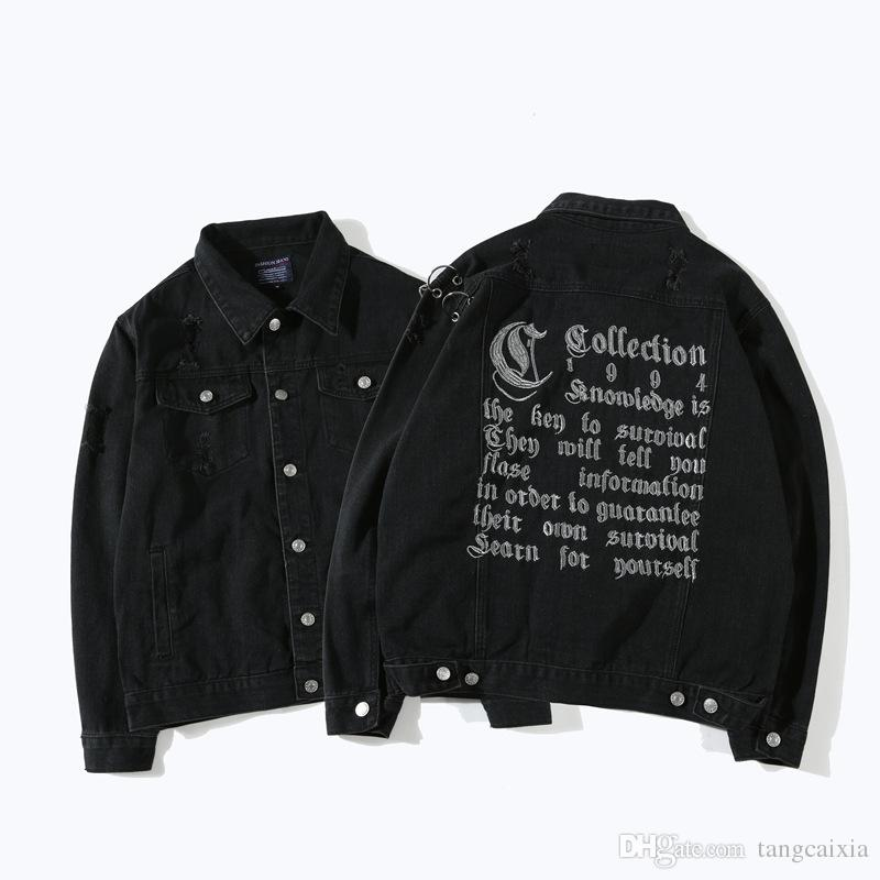 Wholesale Men Hip Hop High Street Loose Black Metal Ring Ripped Hole Letter Embroidery Denim Jacket Coat