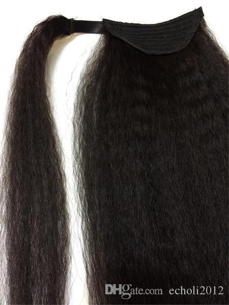Nueva llegada Kinky Cabello liso Cordones de cola de caballo, Brasileño de la Virgen del pelo Italiano Yaki Yaki grueso Colas de caballo Clip de cabello humano