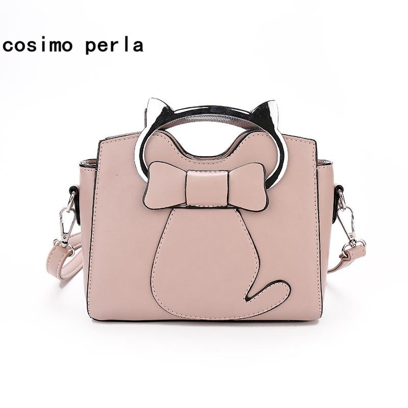 c241b91789 Lovely Small PU Woman Handbags Purses 2018 Cat Head Handle Bow Single  Shoulder Crossbody Bags For Girls Leather Satchel Totes Branded Bags  Evening Bags From ...