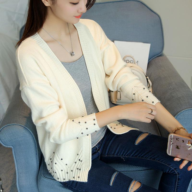 892b6cb1a63 Autumn Sweater Cardigan Women s 2017 New Korean Loose Sweater Women  Cardigan Women Knitting Beaded Female Casual Jacket