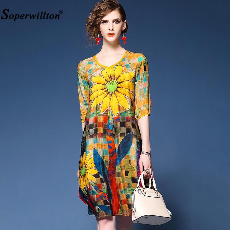 116b7bad53477 Satın Al Soperwillton Artı Boyutu Rahat Kadın Elbise Zarif Gevşek Diz Boyu  Yaz Elbiseler Ince Şifon Baskı Çiçek O Boyun Vestidos Y1891305, $18.82 |  DHgate.