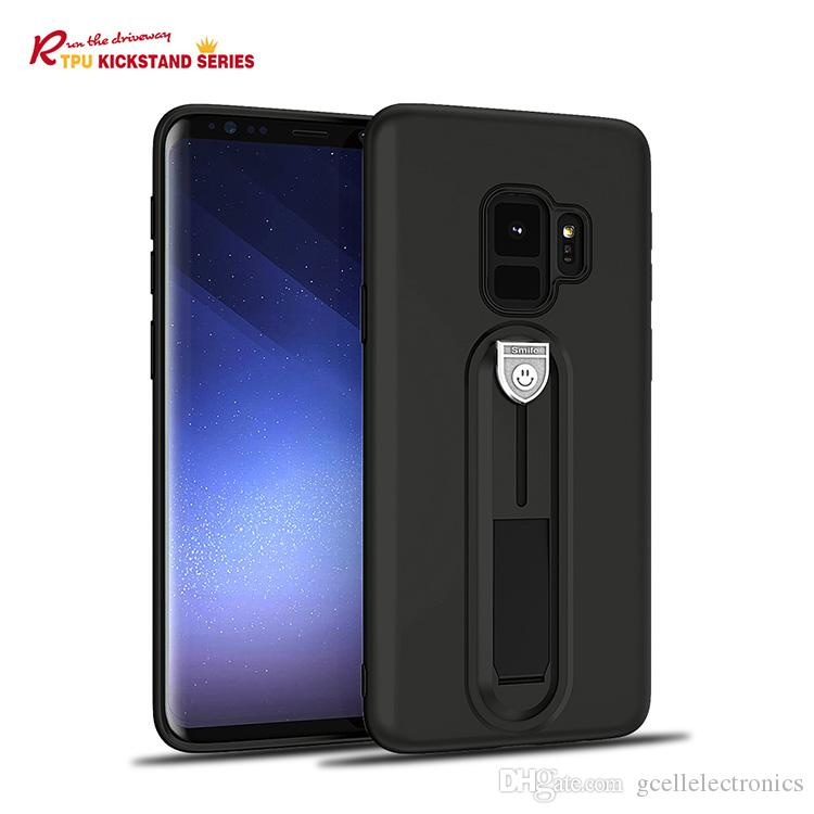 For Iphone XS Max XR Samsung Galaxy Note 9 J6 J8 2018 S9 Slim TPU Cellphone Cases With Kickstand Holder Rubber Coating Covers