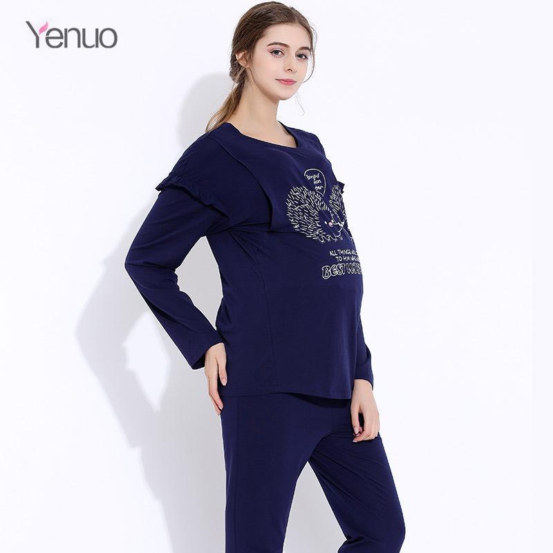 5d785bcf141 2019 Maternity Cartoon  Set Clothing Cotton Nursing Sleepwear Pregnant  Women Breastfeeding Pajamas Long Sleeve Pajamas Clothes From Breenca