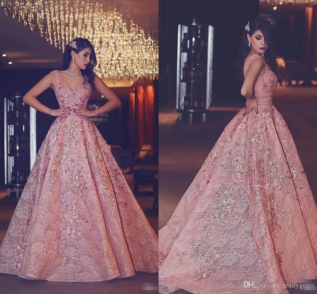 Luxury Blush Pink Lace Floral Evening Pageant Dresses 2018 Plus Size Dubai Arabic V-neck Puffy Skirt Princess Queen Occasion Prom Dress