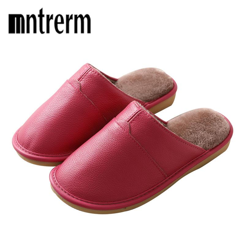1d6ca25675d Mnternm 2018 New Genuine Leather Home Slippers Non Slip Thick Women Men Slippers  Winter Plush Warm Indoor Shoes Plus Size 35 44 Womens Loafers Fashion Shoes  ...