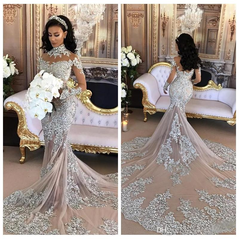 High Neck Bling Bling Mermaid Wedding Dress 2018 Sheer Lace ...
