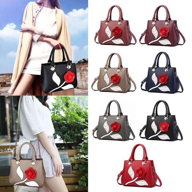 THINKTHENDO Fashion Women Lady PU Leather Rose Flower Shoulder Bag Handbag  Satchel Tote Purse Messenger Hobo Satchel Crossbody School Bags Messenger  Bags ... 76d169cd0e146