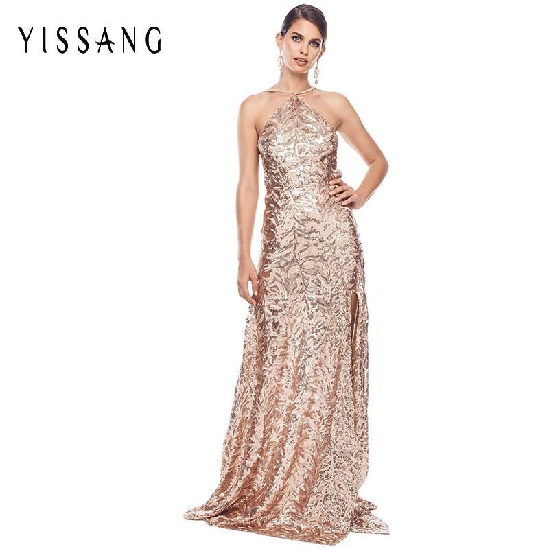 eaa980c326 Yissang 2018 New Fashion Dress Women Sequin Halter Backless Maxi Long  Dresses Party Club Split Elegant Autumn Dress Vestidos