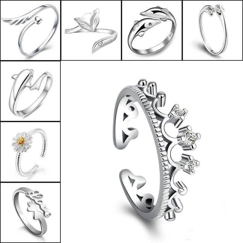 a8a29ebedd30 925 Sterling Silver Rings For Crown Dolphins Dragonfly Horse Wing ...