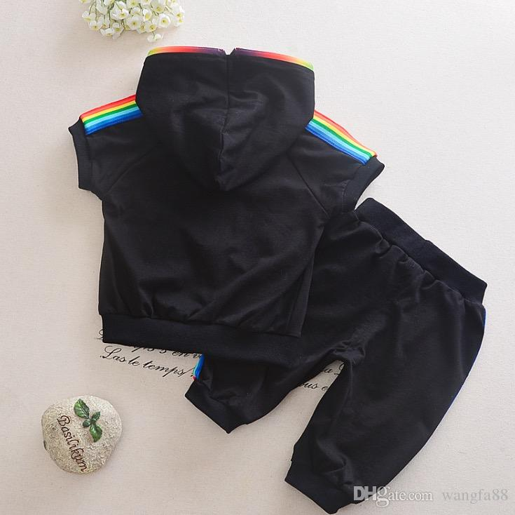 2018 NEW Fashion Kid Boy Girl Clothes Sportswear Summer Short Sleeve Colorful Zipper Hooded Clothing For 0-4Year Children Outfit Set jacket