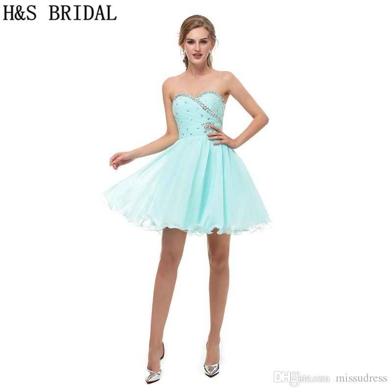 Short Bridesmaid Dresses Beading Cheap Simple Girls Party Prom ...