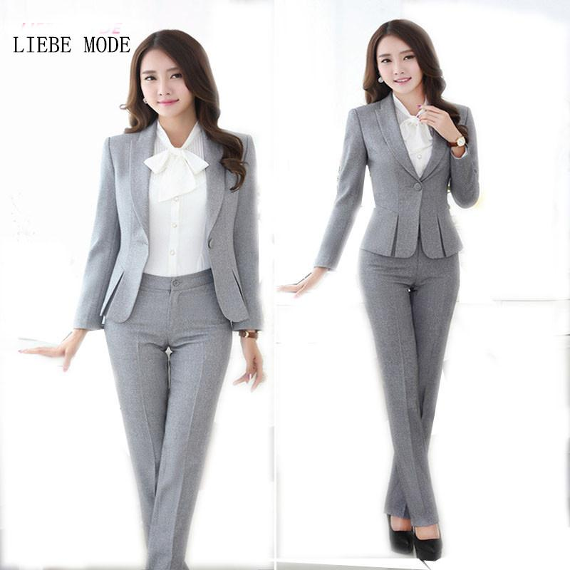 2019 Wholesale Womens Formal Work Suit Pants Black Grey Ladies