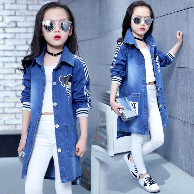55a5cec361 Spring Clothing Jeans Coat For Girls Denim Jackets Cartoon Children  Outerwear Kid Active Autumn Clothes Teenager Long Trench Top Buy Trench Coat  Online ...