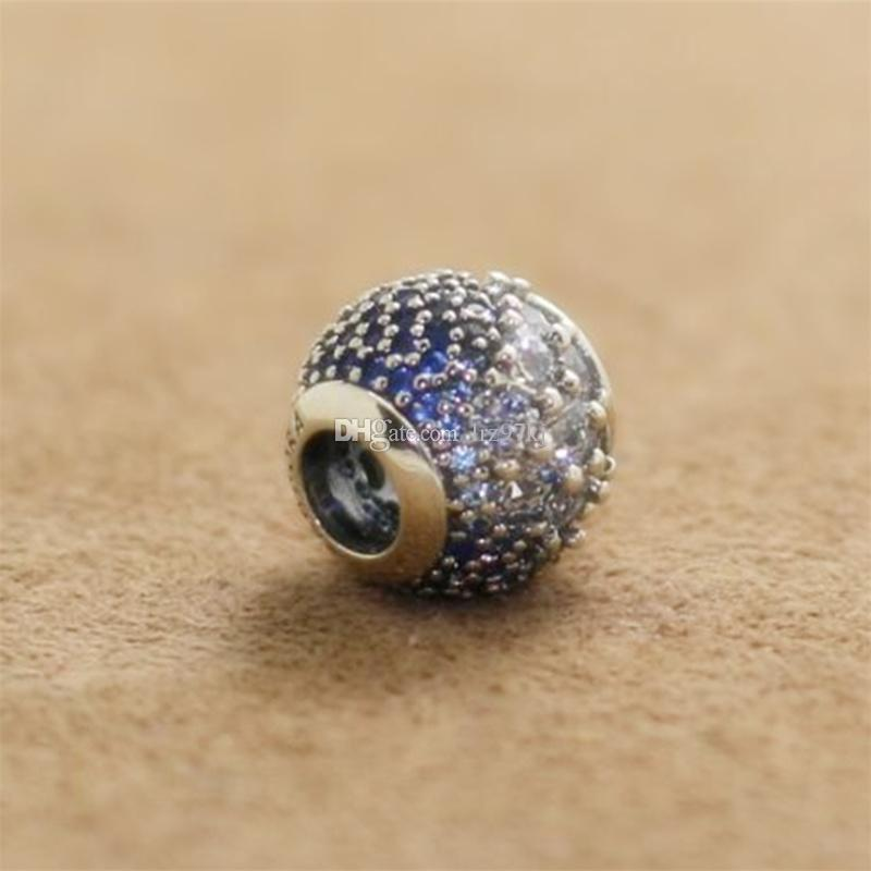 9d5e088de 925 Sterling Silver Blue Enchanted Pave Charm Bead with Cubic ...
