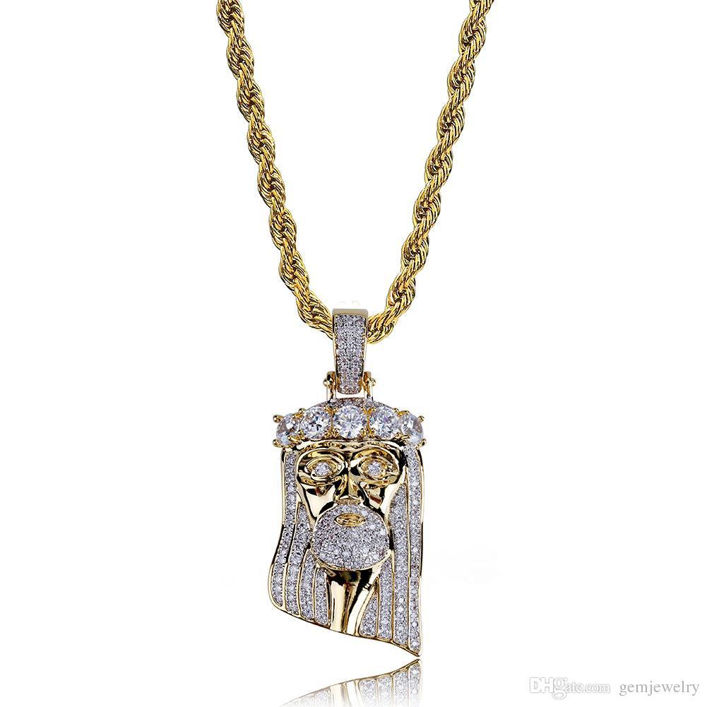Moda rame placcato oro placcato Iced Out Gesù faccia ciondolo collana Micro pavimenta grandi CZ pietra Hip Hop Bling gioielli