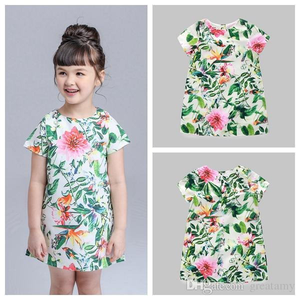 857854e78b3e 2019 0 5Y Toddler Kids Baby Flower Print Princess Dress Short Sleeve Mini  Skirt Baby Girls Foral Cute Dress From Greatamy