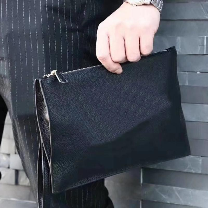 3791d004793 New Design Purse Casual Genuine Leather Men's Envelope Clutch Business Men  Clutch Bags Solt Leather Large Capacity Hand Bags for Male