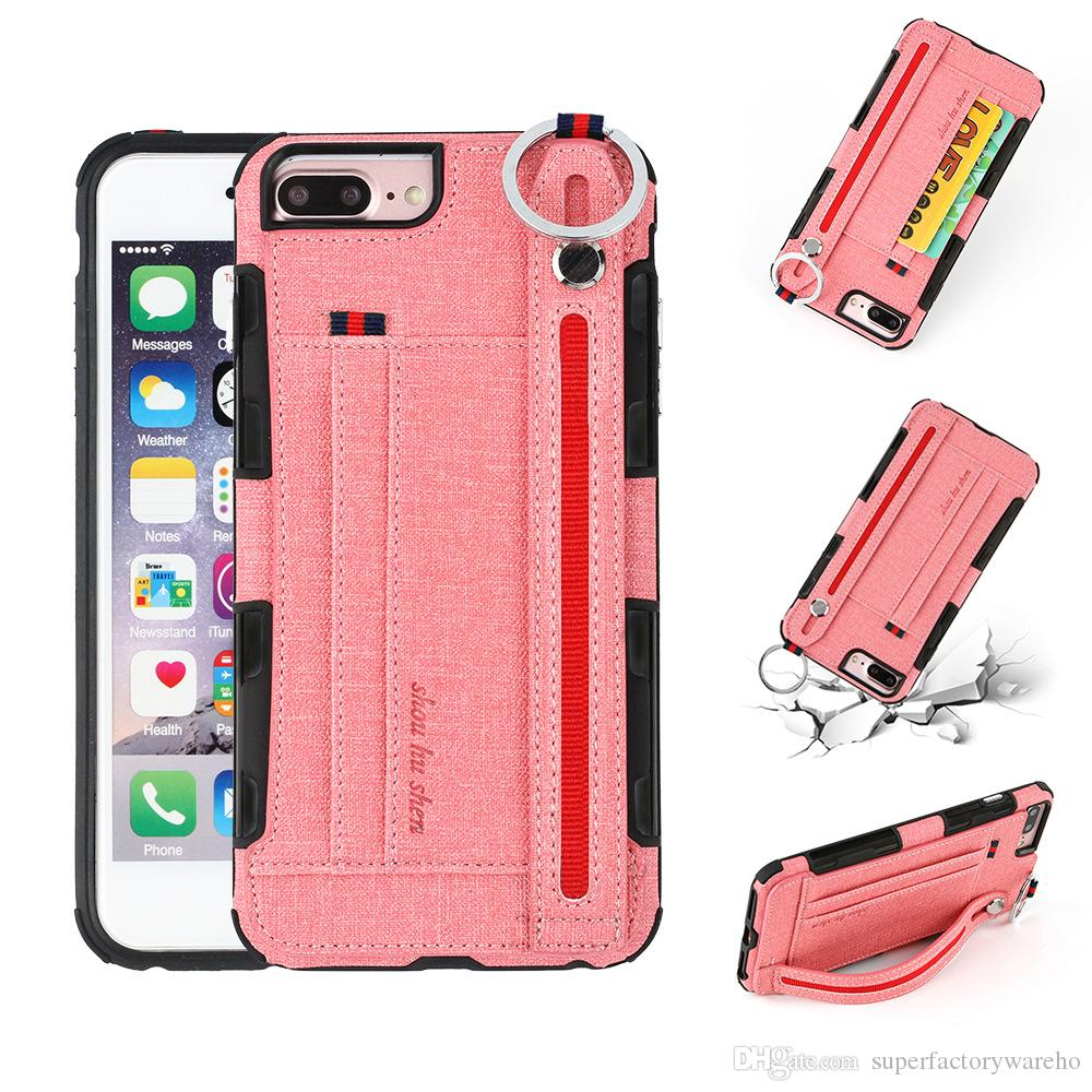 info for 119da 8e1f3 1PCS New Phone Cases for iphoneXS max anti drop phone case card holder hand  strap holster for iphone 6/7/8/X/XS/XR Samsung S8/NOTE 8